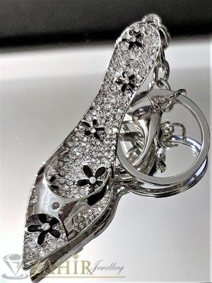 Великолепна кристална стоманена обувка 8 см на ключодържател 14 см, първокласна изработка - KL1070