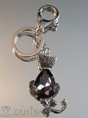 Великолкепна кристална котка с движеща се опашка и голем графитен кристал на аксесоар 12 см - KL1073
