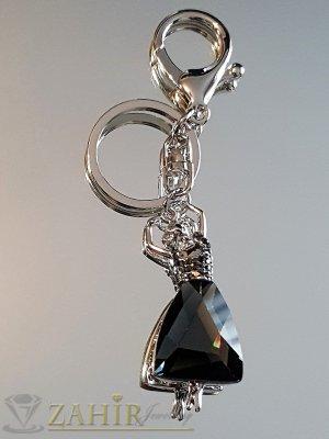 Изящно изработена движеща се стоманена балерина с голям графитен кристал на аксесоар 11 см - KL1075