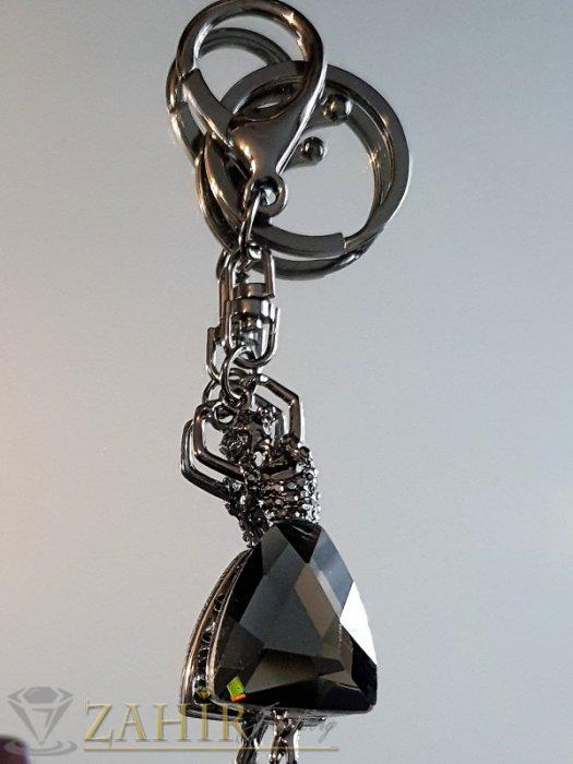 Аксесоари за коса - Изящно изработена движеща се черна балерина с голям графитен кристал на аксесоар 11 см - KL1076