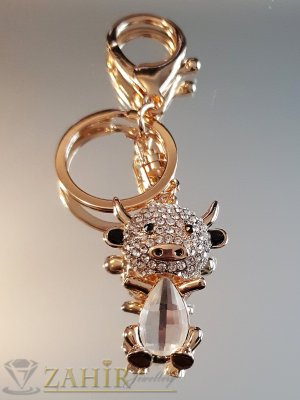 Много сладко кристално теле с подвижна глава и бели циркони на позлатен ключодържател 9 см - KL1097