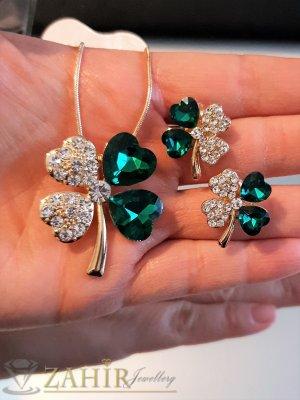 Зелени кристални четирилистни детелини, позлатено колие 50 см с висулка 3 см и обеци 1,8 см на винт,  - KO1997