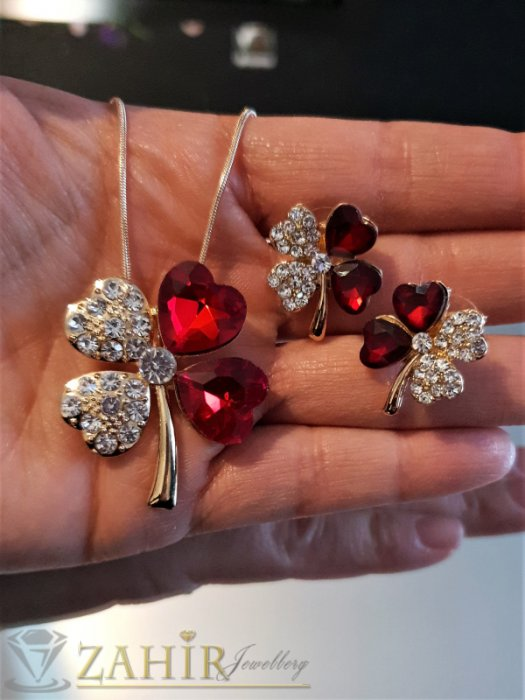 Дамски бижута - Червени кристални четирилистни детелини, позлатено колие 50 см с висулка 3 см и обеци 1,8 см на винт, - KO1998