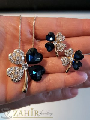 Тъмносини кристални четирилистни детелини, позлатено колие 50 см с висулка 3 см и обеци 1,8 см на винт,  - KO1999