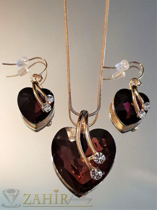 Дамски бижута - Чаровен позлатен коплект с виолетови кристални сърца, колие 50 см с висулка 3 см и обеци 3 см - KO2006
