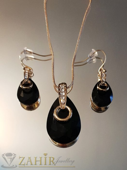 Черен копмлект с кристални капки, позлатен, колие 50 см с висулка 3,5 см и обеци 4 см - KO2012