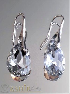 Класически 3 на 1,5 см обеци с голям прозрачен кристал във форма на капка - O2568
