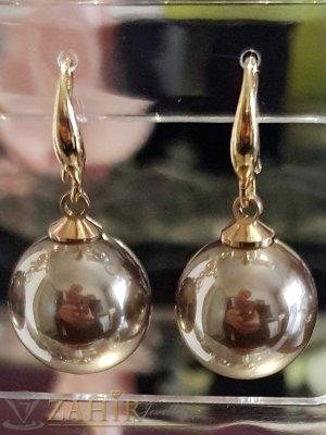 Бронзови седефени перлени обици 3 см с голяма 1,5 см перла, позлатени, на кукичка - O2574