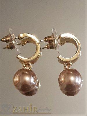 Бронзови перлени висящи обеци 3 см с перла 1 см, златно покритие на винт - O2607