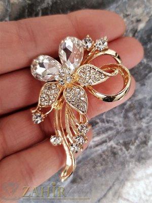 Великолепно кристално цвете брошка,златно покритие, широка 4 см, дълга 6 см  - B1027