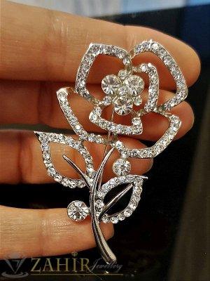 Красива брошка кристално цвете със сребърно покритие -дълга 6 см, широка 3,5 см - B1042