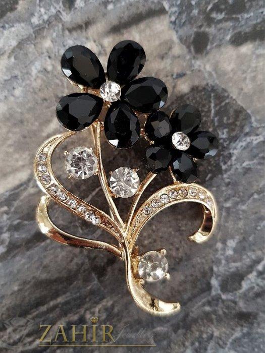 Дамски бижута -  Брошка с черни кристални цветя - 5,5 см, с бели кристали и златно покритие, широка 4 см - B1069