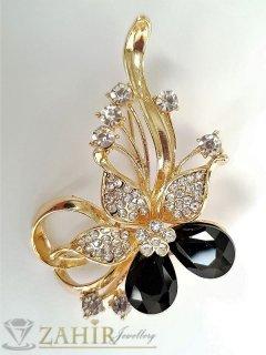 Изящно кристално цвете брошка с черни кристали,златно покритие, широка 4 см, дълга 6см - B1070
