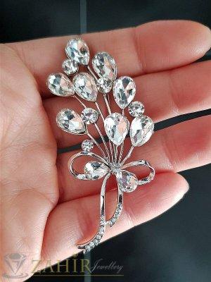 Луксозна брошка кристален букет с блетящи циркони и сребърно покритие, размери 7 см на 3 см - B1074