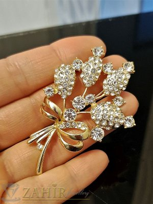 Елегантна брошка- 6 см с букет кристални цветя златно покритие, широка 4 см - B1077