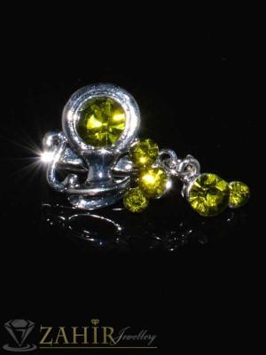 Стилна брошка със златисти кристали -2,5 см- B1014
