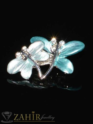 Мини брошка синя и бяла пеперуда с бели кристали -2 см- B1030
