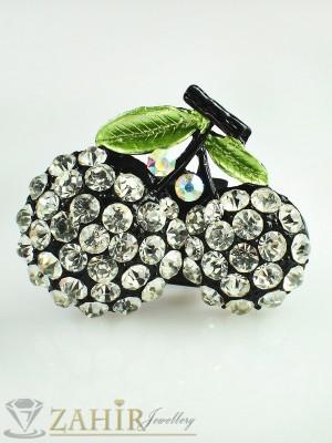 Стилна брошка черешки - 4см с бели кристали и черен емайл - B1070