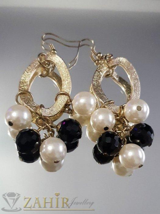 Бижутерия -  Висящи 6 см обеци с черни кристални мъниста и перли, френско закопчаване - O1150