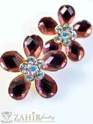 Обеци бордо кристални цветя - O1376
