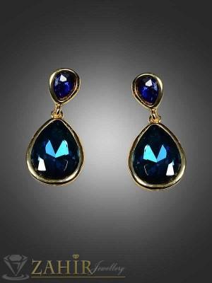 Красиви 3см обеци със сини кристали - O1477