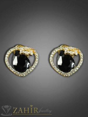 Изящни цирконени обеци с черен кристал-2 см - O1643