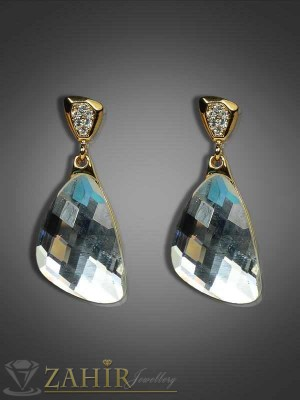 Красиви висящи обеци с масивен фасетиран кристал - 4 см - O1667