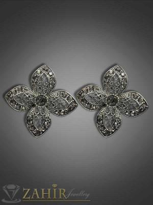 Красиви обеци цветя с графитени кристали - 3 см - O1678