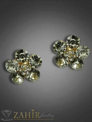 Красиви обеци цветя на винт с бели кристали - 1,8см - O1730