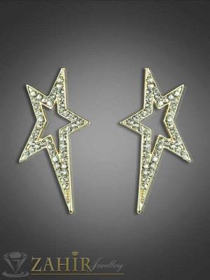 Красиви обеци звезди с нежни циркони и златно покритие - 5,5 см, закопчаване на винт - O1785