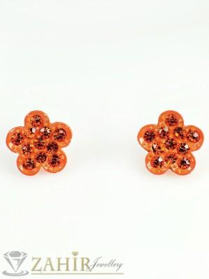 Романтични оранжеви цветя - обеци 2 см, закопчаване на винт - O1935