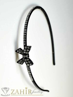 Черна диадема с бели кристали - D1015