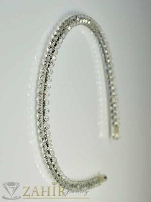 Метална диадема с бели кристали - D1021