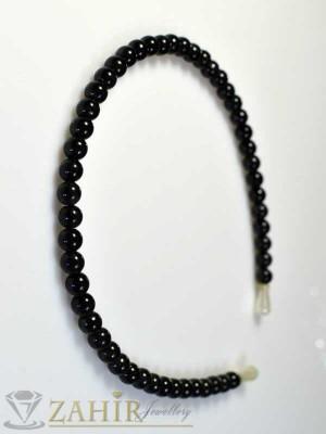 Метална диадема черни перли - D1083