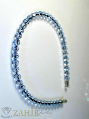Метална диадема светлосини кристали - D1085