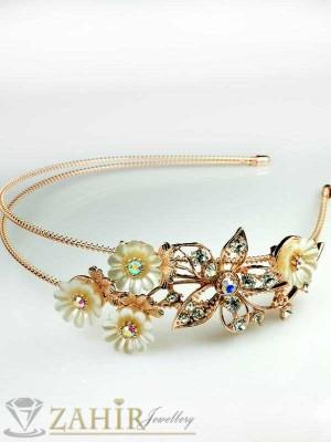 2016 хит метална диадема с кристали и розово златно покритие - D1115