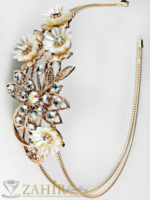 2016 хит луксозна диадема за коса с кристали и розово златно покритие - D1116