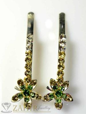 Два броя луксозни метални фиби с цветни кристали - FI1088