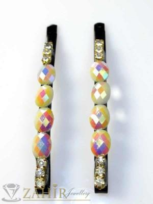Два броя метални фиби с цветни кристали - FI1105