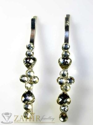 Два броя метални фиби с цветни кристали - FI1108