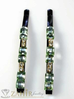 Два броя метални фиби с цветни кристали - FI1115