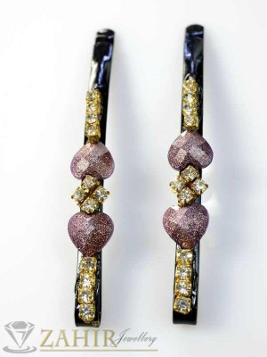 Два броя метални фиби с цветни кристали - FI1122