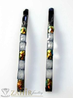 Два броя метални фиби с цветни кристали - FI1126