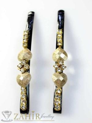 Два броя метални фиби с цветни кристали - FI1128