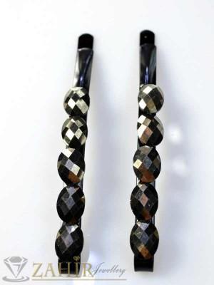Два броя метални фиби с цветни кристали - FI1132