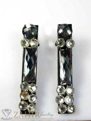 Два броя метални фиби с цветни кристали - FI1163
