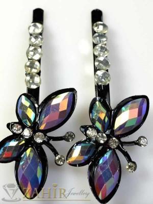 Два броя метални фиби с цветни кристали - FI1172