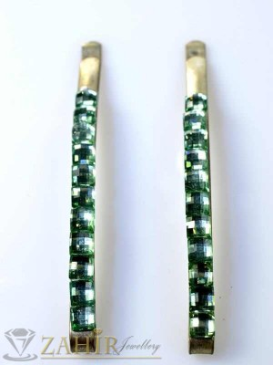 Два броя метални фиби с цветни кристали - FI1199