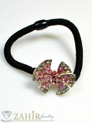 Ластик за коса с блестящи цветни кристали - LK1045