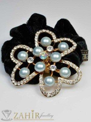 Черен велурен ластик с цвете от перли и кристали - LK1005